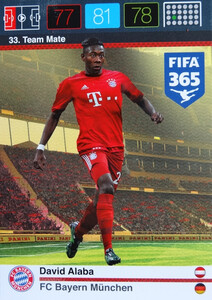 2016 FIFA 365 TEAM MATE FC BAYERN MUNCHEN David Alaba #33