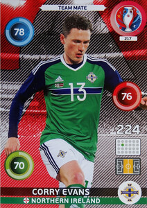 EURO 2016 TEAM MATE Corry Evans #217